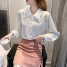 長袖襯衫 上衣 雪紡蕾絲復古尖領長袖襯衫女秋新款設計感別致短款上衣洋氣小衫T614 胖丫