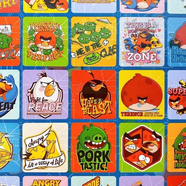 憤怒鳥貼紙 格子貼紙 /一大張入(定20) Angry birds 小鳥貼紙 小豬貼紙 正版授權 MIT製