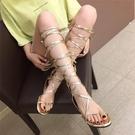涼鞋女夏季新款羅馬平底高筒交叉綁帶涼靴學生鏤空系帶韓國百搭潮