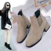 馬丁靴女2019春秋新款秋款英倫風粗跟單靴中跟百搭短靴ins潮秋季