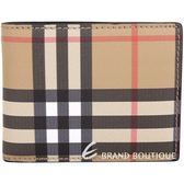 BURBERRY Vintage 格紋皮革六卡對折短夾(黑色) 1910205-01