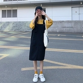 日系方領吊帶裙女春秋新款溫柔風小個子洋氣減齡牛仔黑色連身裙子 格蘭小鋪