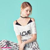 【SHOWCASE】假二件性感蕾絲肩帶大V領LOVE棉T(白)