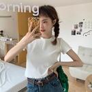 针织短款t恤 韓版修身短款內搭打底衫上衣2020年新款夏季白色短袖T恤女ins超火 解憂