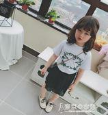 女童韓國套裝夏季圓領短袖t恤小女孩童裝百褶半身裙兩件套裙【東京衣秀】