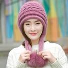 女士冬帽兔毛絨毛線針織帽毛球帽加絨加厚保暖護耳百搭防寒防風帽 小山好物