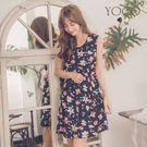 東京著衣【YOCO】浪漫約會必備花布圓領無袖洋裝-S.M.L(181545)