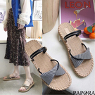 PAPORA麻底格紋兩穿式休閒涼拖鞋KQ565黑/米(偏小)