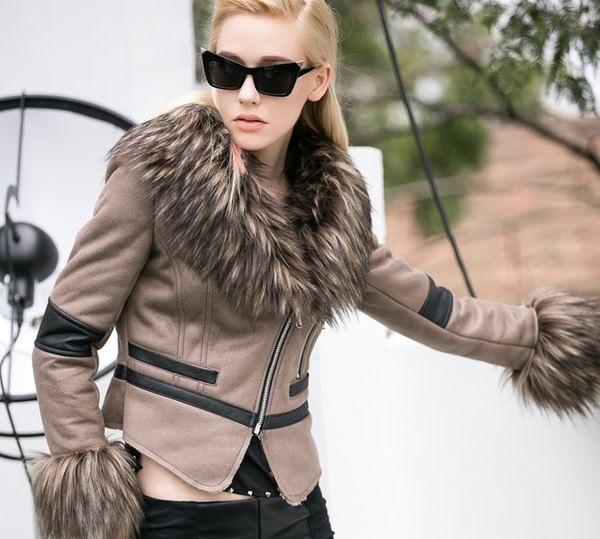 卡樂store…女皮衣精品專櫃PU皮衣翻領毛領羔羊夾克外套 咖啡色 S-XL #mfo52023