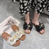 拖鞋女 軟底防滑外穿仙女風涼拖鞋2020新款夏季蝴蝶結平底時尚百搭沙灘鞋 交換禮物