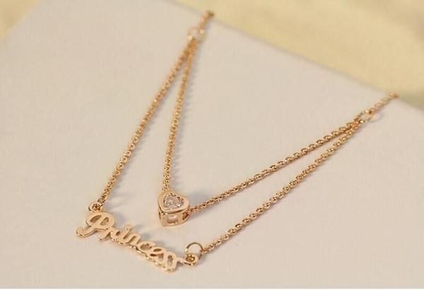 #項鍊#明星款愛心水鑽字母Princess雙層鎖骨鏈項鍊