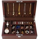 首飾收納盒 首飾盒子木質雙層收納飾品盒手表收納實木貼皮帶鎖簡約珠寶收藏-三山一舍JY