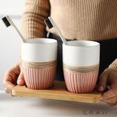 創意復古陶瓷洗情侶漱口杯