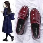 娃娃鞋 ins小皮鞋女復古英倫風一腳蹬平底新款日系學院風jk單鞋-快速出貨