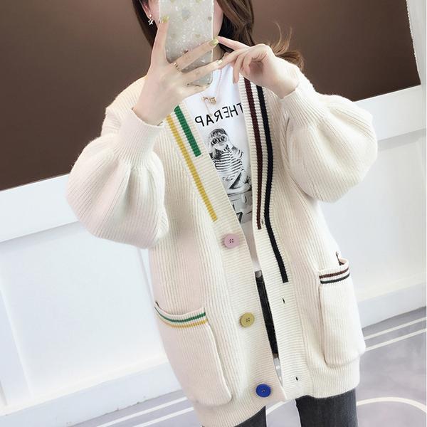 韓版V領泡泡袖針織開衫毛衣外套(5色F碼)*ORead*
