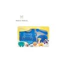 加拿大 MARCUS&MARCUS 動物樂園矽膠餵食禮盒組-河馬(藍)[衛立兒生活館]