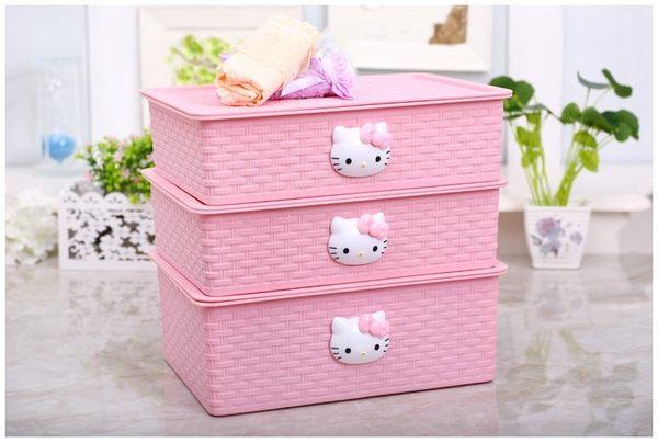 【Hello Kitty】加厚編織塑膠文胸內衣內褲襪子收納盒整理盒帶蓋