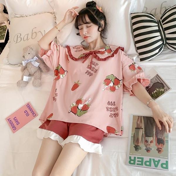 睡衣女夏季純棉短袖薄款兩件套