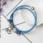 夏季新款皮繩手鍊女款 時尚diy水晶串珠手飾飾品《印象精品》yq167