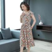 碎花洋裝 棉綢連身裙女2020夏季新款時尚外穿人造棉碎花裙大擺女裙子 JX1796『東京衣社』