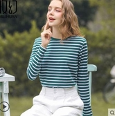 寬鬆T恤純棉長袖t恤女裝寬鬆韓版學生條紋內搭打底衫秋冬裝2020上衣 春季新品