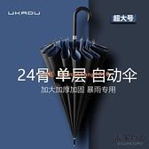 24骨雙層直立傘自動雨傘大號暴雨專用抗風超大長柄彎鉤雙人三人傘【毒家貨源】