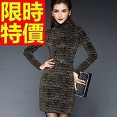 洋裝-亮片金蔥腰封修身顯瘦精美保暖高領羊毛連身裙2色63c46[巴黎精品]