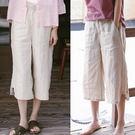 休閒褲-洗水純亞麻七分薄版寬鬆寬管直筒/設計家 K9523