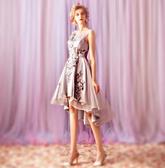 歐尚-優雅灰色前短后長款晚宴年會婚紗小禮服伴娘服批發0881