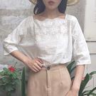 [超豐國際]夏季學院風蕾絲花邊衫純色寬松...