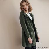 【GIORDANO】女裝長版連帽防風外套 - 60 深淵綠色