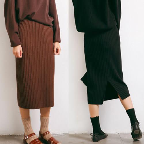 (現貨)後開衩針織中長裙及膝裙-2色【UG60】Minuet