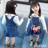 女童牛仔吊帶裙 2018秋女寶寶洋氣背帶裙時尚吊帶裙 BF13394『寶貝兒童裝』