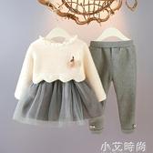 女寶寶套裝加絨洋裝兩件套女童冬裝洋氣網紅嬰兒秋冬裝小童新款 小艾新品