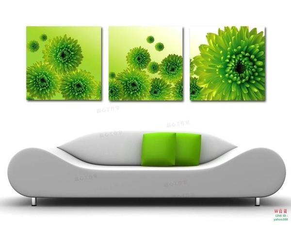 無框畫裝飾畫暖色菊花客廳走廊臥室掛畫三聯畫掛畫沙發背景