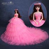 芭比娃娃葉蘿莉套裝大禮盒女孩公主婚紗白雪巴比玩具超大90厘米3d【1件免運】