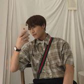 男性格紋襯衫  文藝復古 經典格紋 簡約時髦優雅寬鬆短袖格子 珍妮寶貝