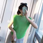 蝙蝠袖T恤-高彈力純色休閒寬鬆褶皺女上衣3色73zs32[巴黎精品]