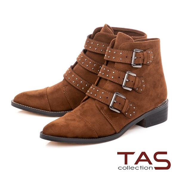 TAS圓釘釦帶粗跟拉鍊短靴-焦糖棕