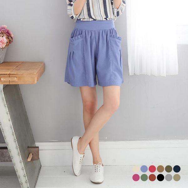 OB嚴選《DA2499-》甜美荷葉大口袋素面棉麻寬褲.12色--適 S~XL