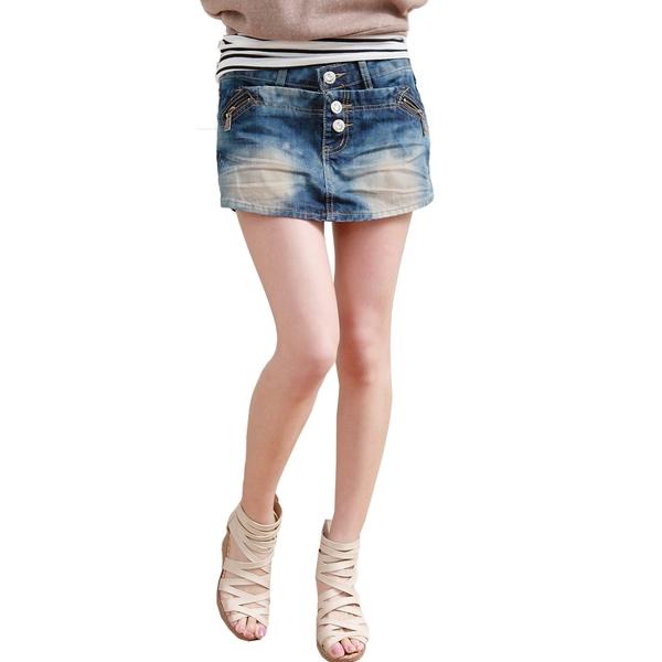 褲裙--層次感鑽釦斜拉鍊裝飾設計纖細感牛仔褲裙(S-7L)-R107眼圈熊中大尺碼
