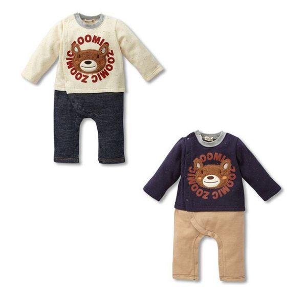 小熊拼接長褲 連身衣 連身衣  童裝 衣服 橘魔法Baby magic 現貨 小童 兒童