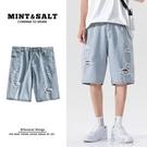 男士牛仔淺色短褲子直筒寬鬆韓版潮流夏季破洞薄款中褲潮牌五分褲 一米陽光