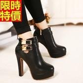短靴 高跟女靴子-精緻簡單隨意舒適休閒2色66c9【巴黎精品】