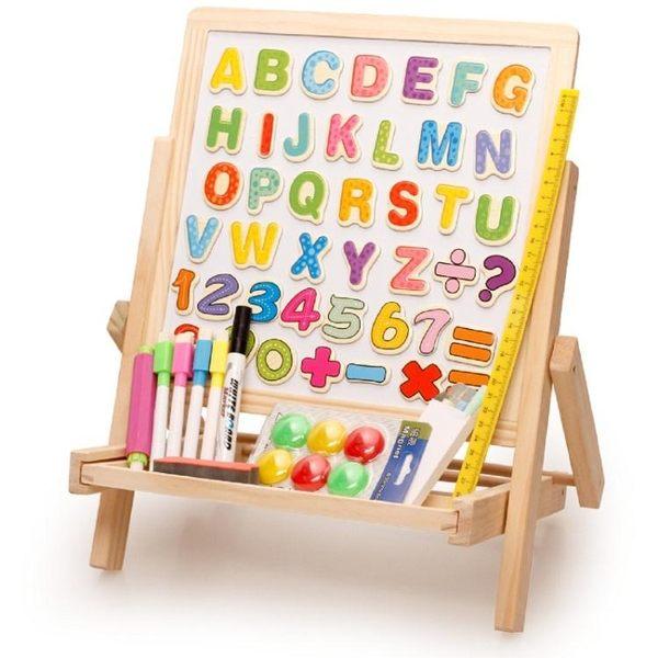 木丸子實木兒童升降支架式家用磁性畫畫套裝寫字板mj1165【VIKI菈菈】