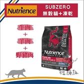 Nutrience紐崔斯[黑鑽頂級無穀全貓+凍乾,牛+羊+野豬,5kg,加拿大製]