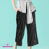 【SHOWCASE】OL氣質條紋釦褲襬雪紡寬褲(黑)