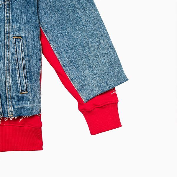 [買1送1]Levis 女款 牛仔外套 / 連帽假兩件 / 下擺不收邊