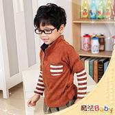 韓版假兩件式立領針織衫 魔法Baby
