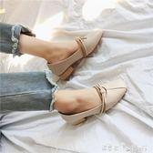 單鞋子女春季復古韓版奶奶鞋中粗跟休閒百搭豆豆鞋方頭工作鞋 「潔思米」
